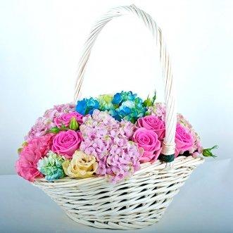 Корзина гортензий и розовых роз